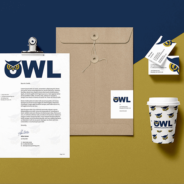 Flat lay mockup of the new brand refresh for our client OWL including headed paper, mailer envelope, business cards and branded coffee cup..