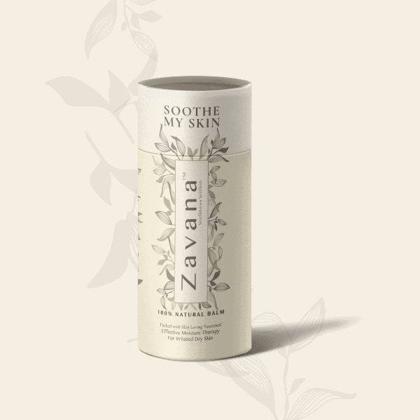 Packaging mockup for Zavana Wellness Soothe My Skin 100% Natural Balm in a bio-degradable paper push-up tube.