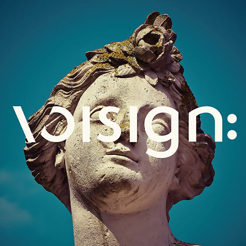 Square image of the Voisign primary logo overlaid on an image of a statue